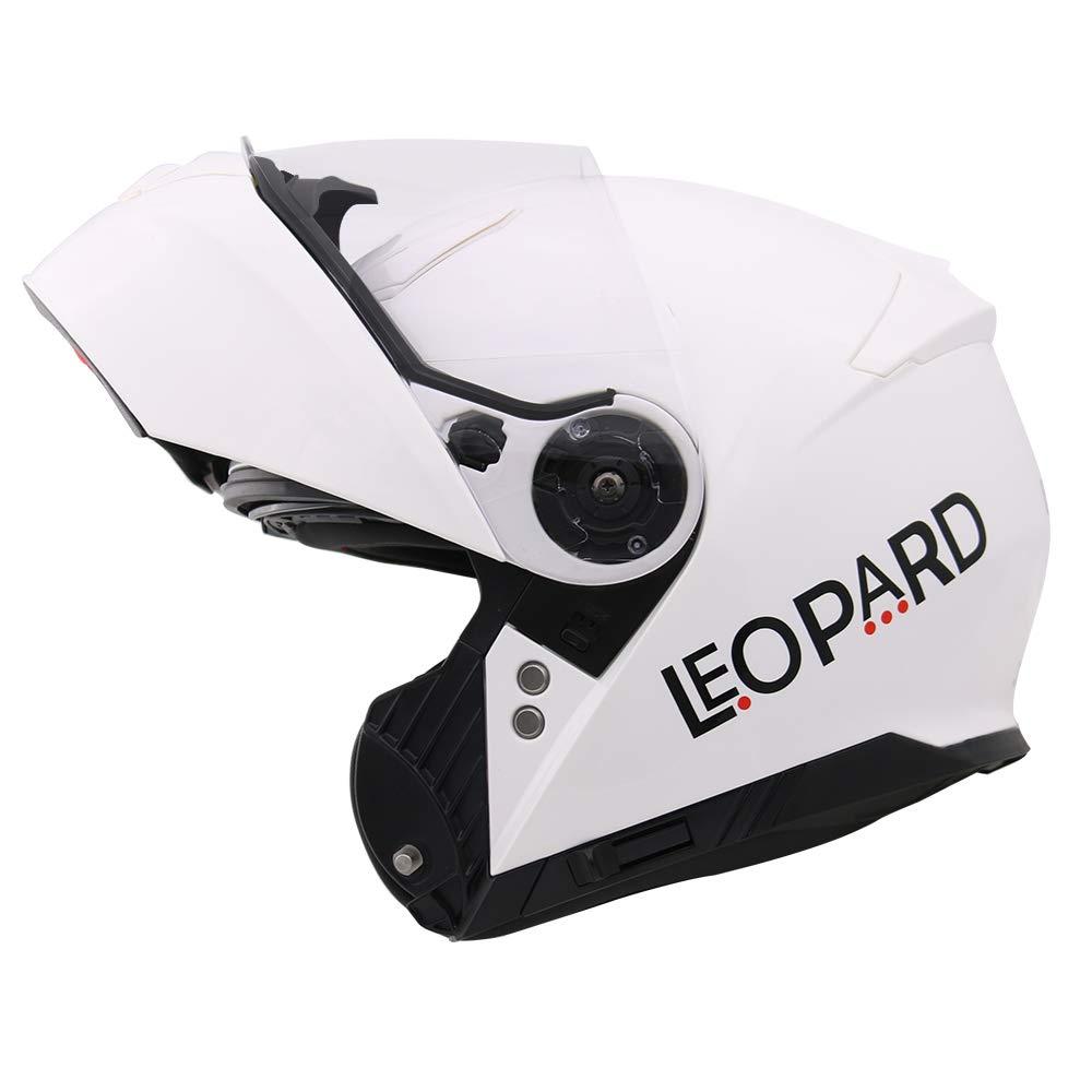 Leopard leo-888/grafiche DVS Flip Up Front Casco da Moto Casco con Doppia Visiera Rosso//Grigio//Nero, Taglia L