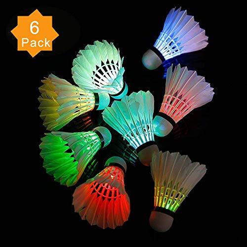 ZHENAN LED Badminton Shuttlecocks Dark Night Glow Birdies Lighting For Outdoor & Indoor Sports Activities (Feather_6pcs)