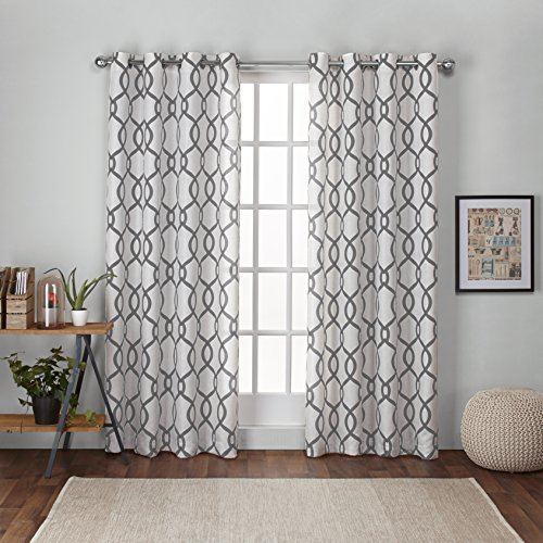 Exclusive Home Curtains Kochi Linen Blend Grommet Top Window Curtain Panel Pair, Black Pearl, 54x84 Geometric Curtain