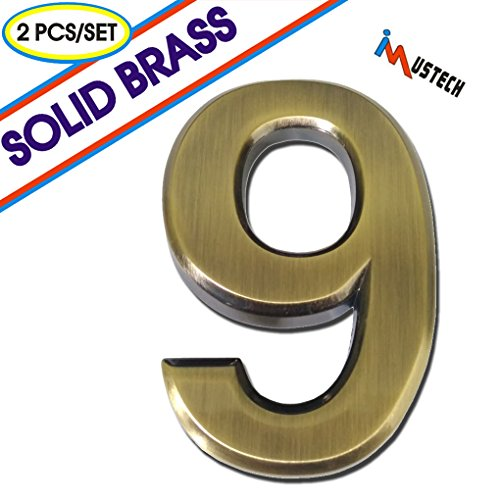 2 Pcs of #9 Solid Brass Mailbox Number, BLK-Tech 2-3/4 Inch Self-stick Solid Molding Number in Eco-Friendly Brass,Mailbox Number, House Number, Door Number, Hotel Number, Address Number