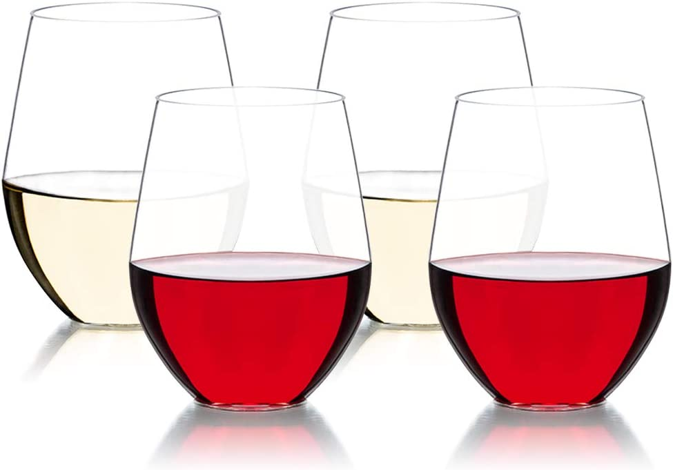 Unbreakable Stemless Drinking Wine Glass Lead-Free Crystal 16 oz Dishwasher Safe