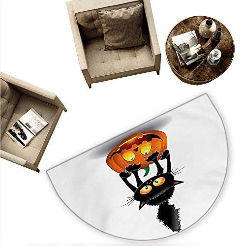 Halloween Half Round Door mats Black Cat on Pumpkin Drawing Spooky Cartoon Characters Halloween Humor Art Bathroom Mat H 59