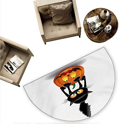 Halloween Semicircular Cushion Black Cat on Pumpkin Drawing Spooky Cartoon Characters Halloween Humor Art Entry Door Mat H 55.1