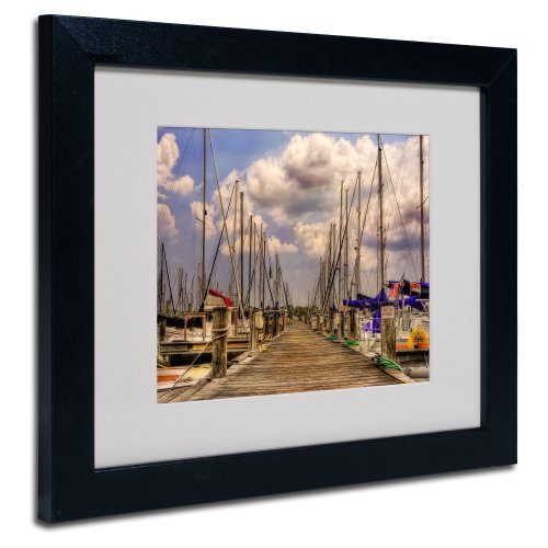 Trademark Fine Art Pirates Cove Matted Framed Art by Lois Bryan with Black Frame, 11 by 14-Inch