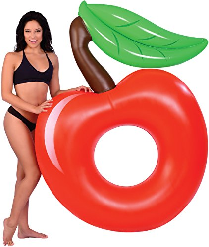 BEST CHERRY INFLATABLE POOL FLOATS, Perfect Floaties for Kids & Adults, Huge Blow Up Party Tubes for River Rafting Summer Fun, Ultimate Floating Lounger, Birthday Water Raft Toy to Ride (King Kai Costume)