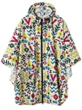 Waterproof Rain Poncho Jacket Coat for Adults Hooded with Two Zippers(Colorful)