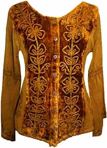 34709b2791d5b9 504 B Womens Renaissance Vintage Gothic Velvet Button Down Embroidered Shirt  Top Blouse