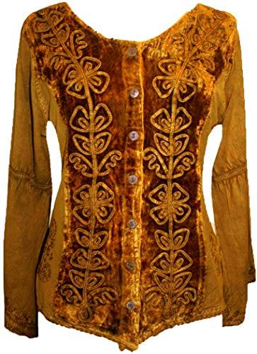 504 B Renaissance Vintage Renaissance Top Blouse (L, Old Gold)