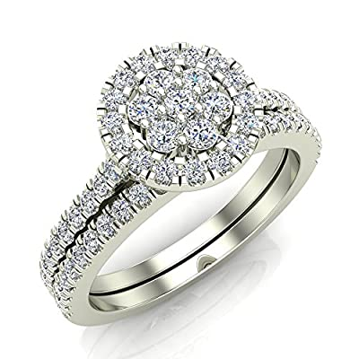 Flower Cluster Diamond Wedding Ring Set 10K Gold 0.65 ctw (I,I1)
