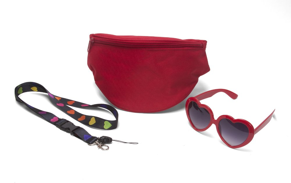 Women's Festival Accessory Kit w/Heart Sunglasses, Fanny Pack and Lanyard - Red