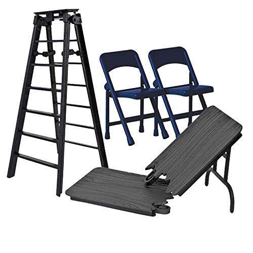 ULTIMATE Ladder, Table & Chairs Black Playset for WWE Wrestling Action Figures (Wwe Table Ladders And Chairs)