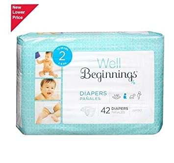 Well Beginnings Diapers Jumbo Size 2 Fits 12 to 18 lb 42.0ea(pack of