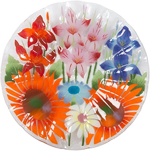 Fusion Art Glass 14-Inch Ribbed Plate with Wild Flowers Design