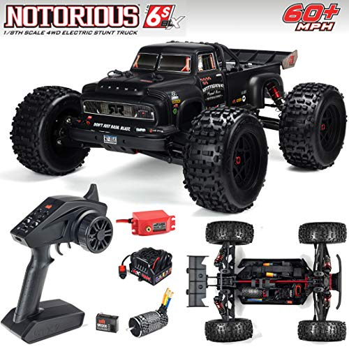 ARRMA Notorious 1/8 Scale BLX Brushless 4WD RC Stunt Truck RTR (6S Lipo Battery Required) with 2.4GHz STX2 Radio, ARA106044T1 (Black)