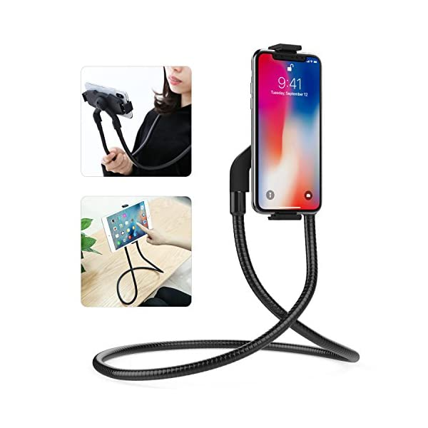 "MoKo Support Universel en Métal pour Phone/Tablette(4-10.5""), Réglable pour Galaxy S20 6.2'', Note 10 Plus, New iPad 10.2"" 2019,iPad Air 3 iPhone 11 Pro Max, iPhone 11 Pro, iPhone 11 - Noir 1"