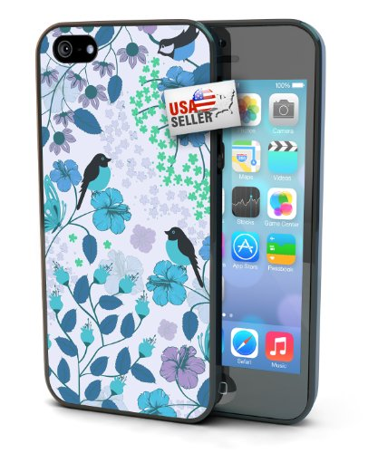 Flower and Birds Blue Black Plastic Cover Case for iPhone 4 or 4s