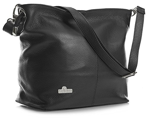Storage Genuine Bag Bag Hobo Black Protective Womens Italian Leather LIATALIA ADAL Medium Shoulder with fAwSZWq
