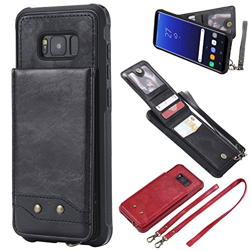 Price comparison product image Galaxy S8 Plus Wallet Case Black.Samsung Galaxy S8 Plus Slim Fit PU Leather Credit Card Holder Case, Gostyle Fashion Kickstand Shockproof Defender Protective Pouch Shell with 2 Detachable Hand Strap