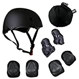 JIFAR Adjustable Helmet Protective Pads Knee Elbow Pads Wrist Guards Sports Support Safety Set Equipment for Scooter and Other Extreme Sports Activities (7 Pieces Sets+1 Non-Woven Bag)
