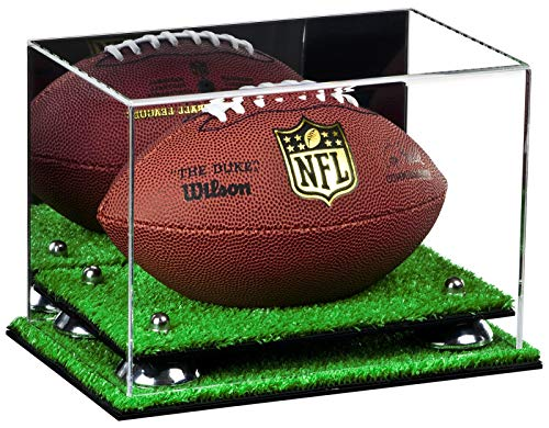 (Deluxe Acrylic Mini - Miniature (not Full Size) Football Display Case with Mirror, Silver Risers and Turf Base (A005-SR))