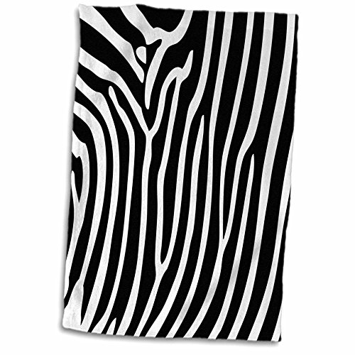 (3D Rose Black and White Chic Zebra Print Towel, 15
