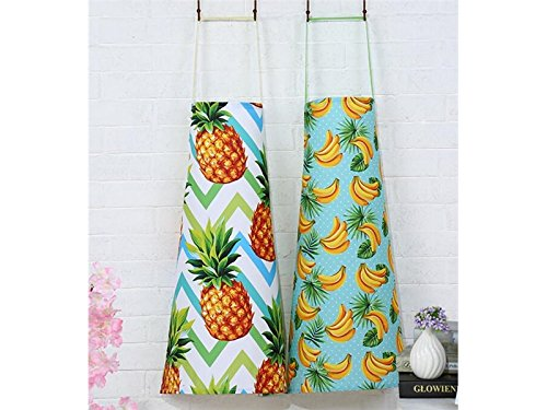 Functional Cartoon Hanging Neck Floral Printed Fruit Banana Pattern Sleeveless Apron for Woman Great Gift for Outdoor Garden