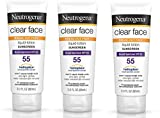 Neutrogena Clear Face Liquid Lotion Sunscreen For Acne-Prone Skin IiPEKQ, Broad Spectrum Spf 55, 3 Fl. Oz. 3 Pack