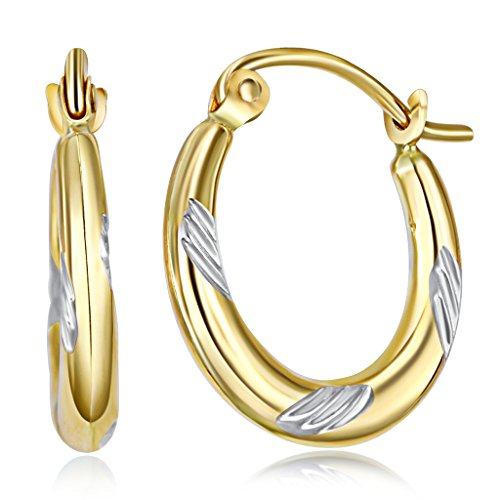 Wellingsale Ladies 14k Two Tone White and Yellow Gold Polished Swirl Fancy Hoop Earrings (15 x 15mm) - White Gold Polished Swirl