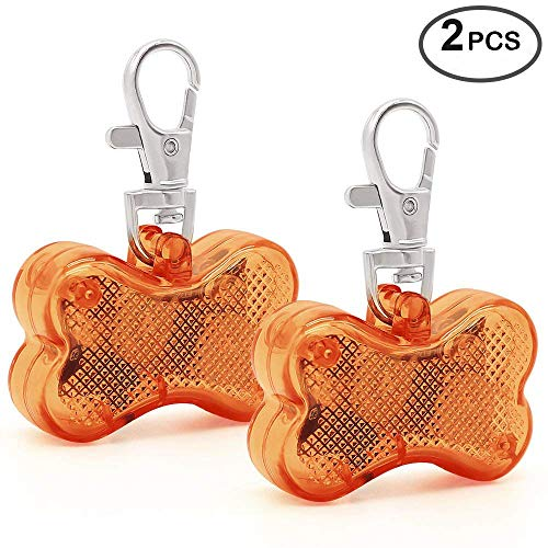 Higo Pack of 2 PCS LED Dog Tags, Bone-Shape Clip-On Light Up Pet Pendants, Glow in The Dark Pet ID Tags Dog Safety Lights for Nighttime Dog Walking (Brown)