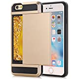 iPhone 8 Plus Case, Impact Resistant Protective Shell Wallet Cover Shockproof Rubber Bumper Case Card Slot Holder Gold