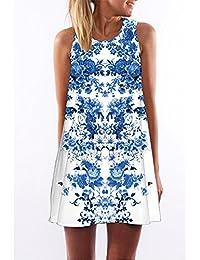 0e7aefb6fcf Women Flutter Short Beach Dress Digital Print Bohemian Sleeveless Summer  Dress