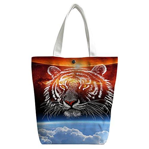 Violetpos Benutzerdefiniert Canvas Handtasche Einkaufstaschen Umhängetasche Schultasche Lunch-Tasche Tiger Sonnenuntergang Galaxie Planeten Universum 3zxATF8Rh