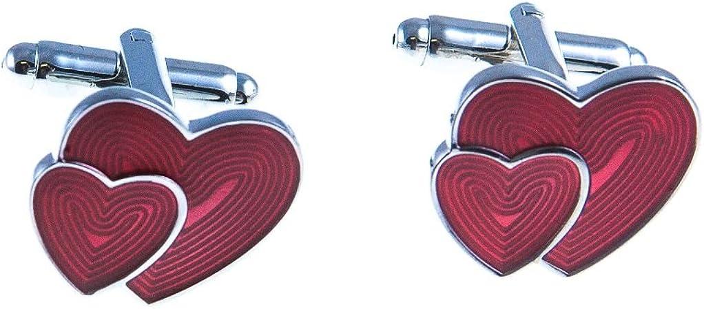 MRCUFF Heart Red Engagement Valentine's Day Pair Cufflinks in Presentation Gift Box & Polishing Cloth