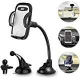Car Phone Holder 3-in- 1 Car Mount for Windshield, Dashboard, Air Vent – 360° Rotatable Universal Cell Phone Mount for iPhone, Samsung, More – Hands Free Dash Mount Mobile Phone Holder for Car by I&F