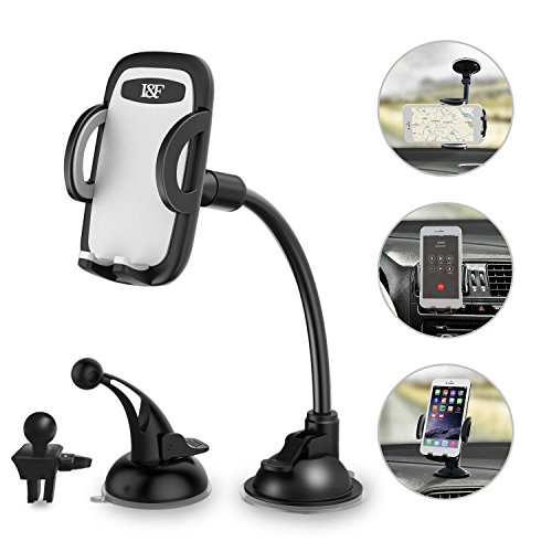 Car Phone Holder 3-in- 1 Car Mount for Windshield, Dashboard, Air Vent – 360° Rotatable Universal Cell Phone Mount for iPhone, Samsung, More – Hands Free Dash Mount Mobile Phone Holder for Car by