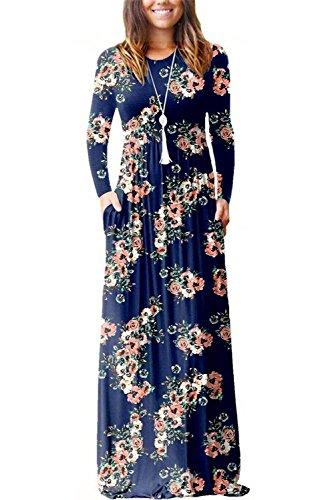 Abito Floral Vestitini Abiti Scollo Lunghi S XXL Donna Rotondo Camicia Corta Dasbayla Blue Vestito Manica navy 8fq0OHfw
