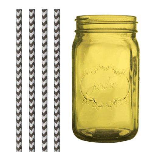 Dress My Cupcake DMC35198 Amber Yellow Vintage Jardin Mason Jar with Black Chevron Straws, 32-Ounce