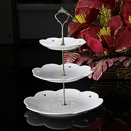 Holder Cake - 2 Or 3 Tiers Cake Plate Stand Handle Crown Fitting Metal Wedding Party Decor - Tiara Sweetgo Chinese Headwear Fruit Plate Metal Stand Vintage Holder Dish Cake Tier Dessert]()