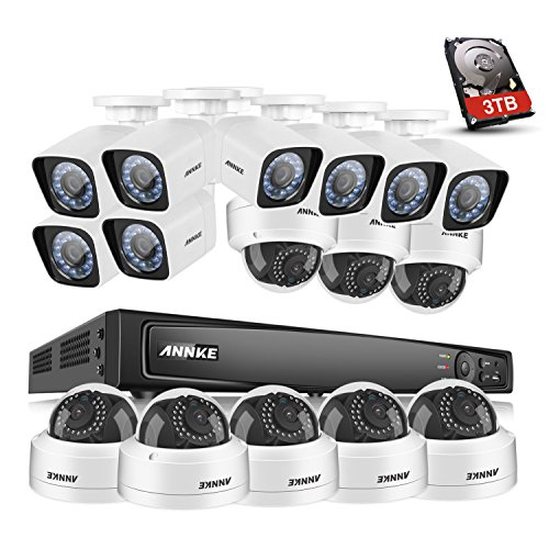 ANNKE 1080P PoE Surveillance System 16 Channel 6.0MP 4K Network Video Recorder and (16) 1920TVL 2.0MP Weatherproof Cameras, 3TB HDDD Smart Search Playback, Motion Triggered Email Alert
