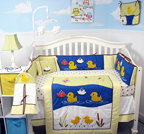 Duck Baby Bedding (SoHo Quack Quack Ducks Baby Crib Nursery Bedding Set 13 pcs included Diaper Bag with Changing Pad & Bottle Case)
