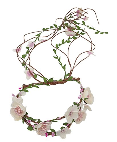 Hippie Wedding - Floral Fall Adjustable Bridal Flower Garland Headband Flower Crown Hair Wreath Halo F-83 (Ivory)
