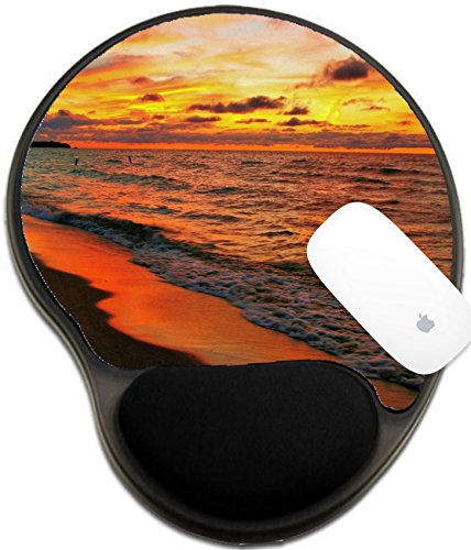 Luxlady Mousepad Wrist Protected Mouse Pads Mat With Wrist Support Design Image Id  22084861 Sunset Fire Blazing Orange Sunset Reflected On A Lake Huron Beach Port Austin Michigan