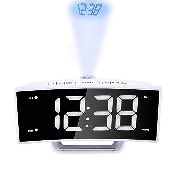 Proyector FM Radio Despertador, LED Grande Curva Pantalla Dual ...