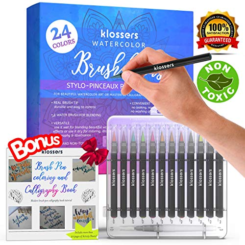Klossers Water Color Marker Pen Brush Set with Book for Coloring and Lettering Calligraphy - Watercolor brush Pen-Watercolor Markers - Watercolor Pens