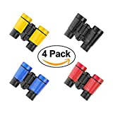 ElementDigital Kids Binoculars Dual Lens Telescope Toys 4X30 Magnification Rubber Eye Shields Shockproof with Hangable String Party Favors Gift for Kids Birthday 4 Pack