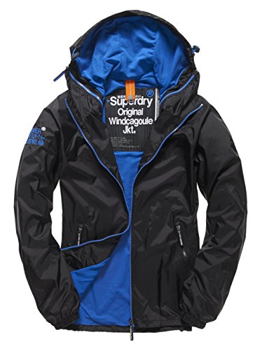 SUPERDRY Herren Regenjacken Dual Zip Through Cagoule, Schwarz (Black/Royal56A), 3XL
