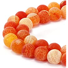 BRCbeads Gorgeous Natural Orange Frosted Agate Gemstone Smooth Matte Round Loose Beads 8mm Approxi 15.5 inch 45pcs 1 Strand per Bag for Jewelry Making