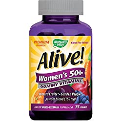 Nature's Way Alive! Women's 50+ Premium Gummy Multivitamin, Fruit and Veggie Blend (150mg per serving), Full B Vitamin Complex, Gluten Free, Made with Pectin, 75 Gummies