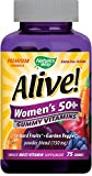 Nature's Way Alive! Women's 50+ Premium Gummy Multivitamin, Fruit and Veggie Blend (150mg per serving), Full B Vitamin Complex, Gluten Free, Made with Pectin, 75 Gummies For Sale
