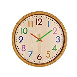 Q-seedling Modern Colorful Stylish Elegant Little-ticking Decorative Home Kitchen/Living Room Wall Clock (12 in, Yellow)